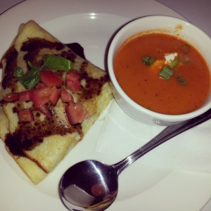 Ray Donovan Crepe with Roasted Red Pepper Soup