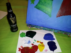 Mmm Guinness, Paint, and my Pallet.